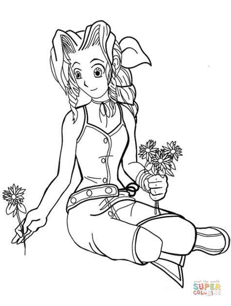 Aeris from Final Fantasy Vii coloring page | Free