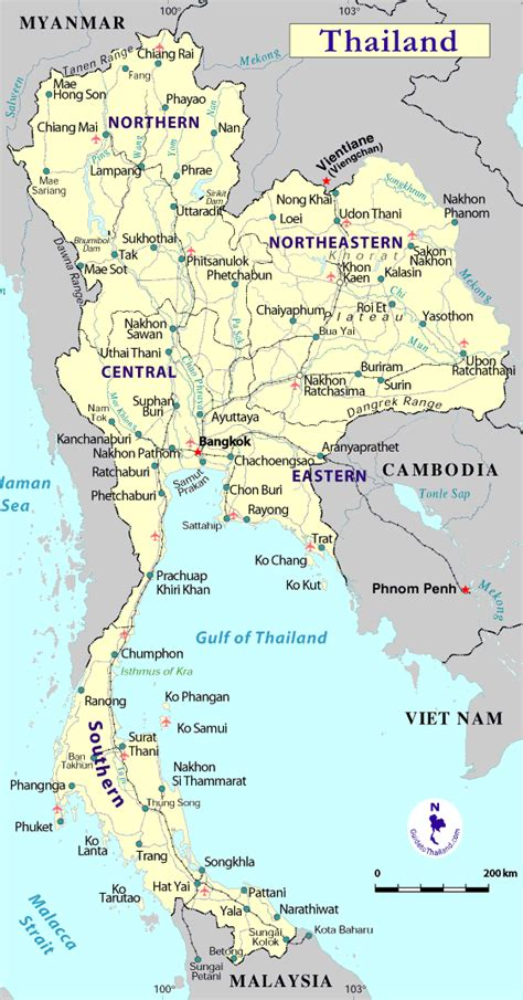 Thailand Map and Thailand Satellite Images