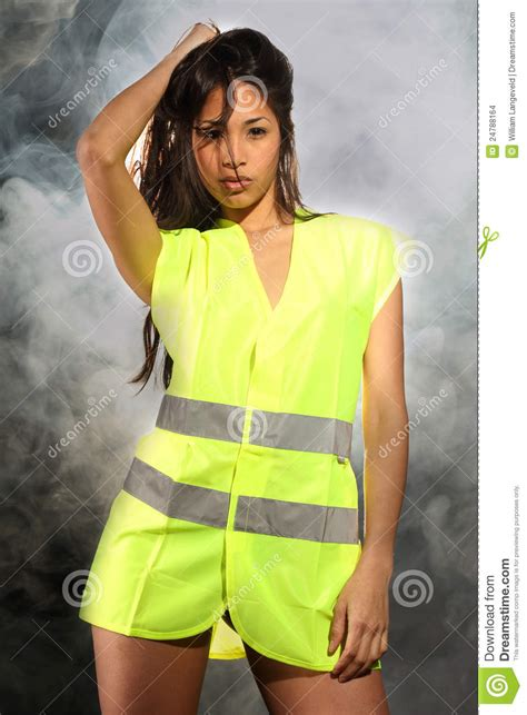 Sexy Woman With Safety Jacket Stock Images - Image: 24788164