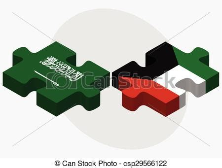 Saudi arabia and kuwait flags in puzzle isolated on white