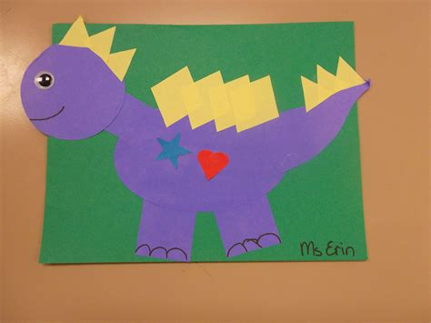 Shapeasaurus, Dinosaur craft made out of shapes
