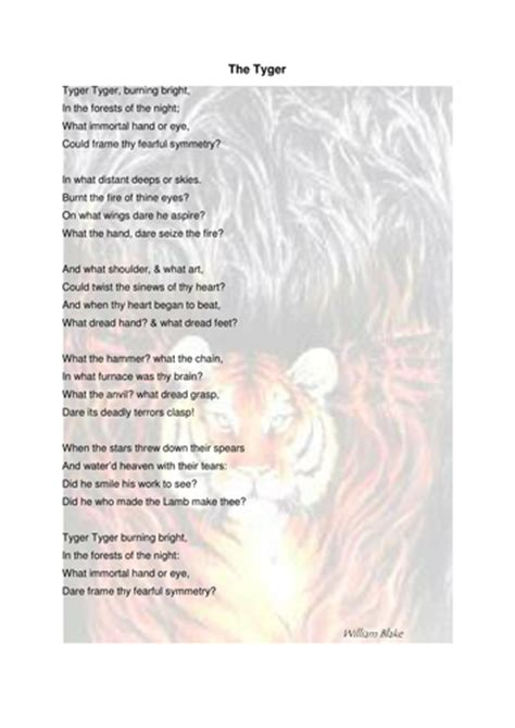 William Blake 'The Tiger/Tyger' poem, tasks and answers by